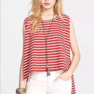 FREE PEOPLE Striped High Low Swing Top